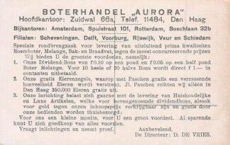 Ansichtkaart Den Haag Reclame Boterhandel Aurora Zuidwal 66a Bijkantoren Amsterdam Rotterdam HC7857
