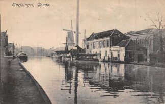 Ansichtkaart Gouda Turfsingel Vest Veer pont Verdwenen molen De Korenblom Gompers HC7879