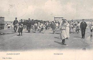 Ansichtkaart Zandvoort Marcherende soldaten op het strand Militair Zee 1907 HC7880