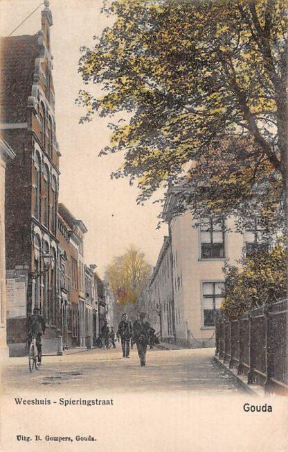 Ansichtkaart Gouda Jeruzalemstraat Weeshuis Spieringstraat Gompers HC7886