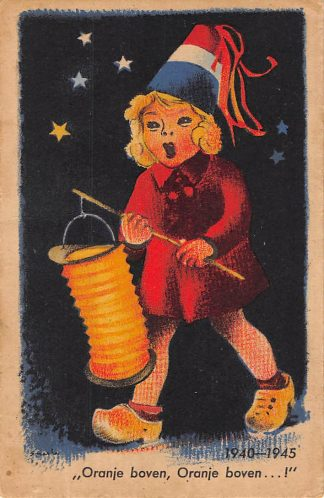 Ansichtkaart WO2 1940 - 1945 Bevrijding Oranje boven, Oranje boven...! Vlaggekaarten HC7898