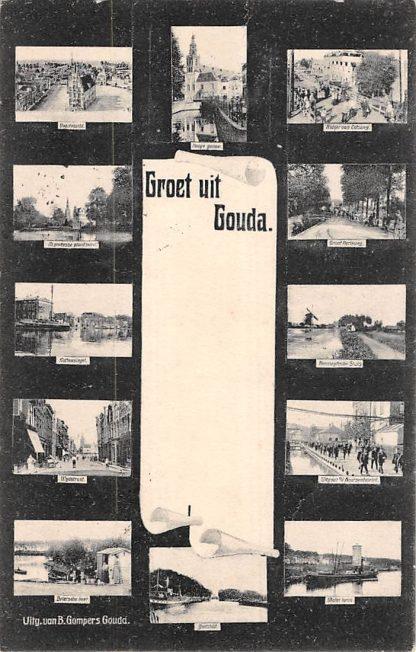 Ansichtkaart Gouda Groet uit 1903 Gompers 12-luik HC7906