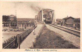 Ansichtkaart Alphen aan den Rijn Gouwsluis Spoorbrug Stoomtrein Treinen Spoorwegen HC7938