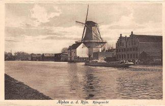 Ansichtkaart Alphen aan den Rijn Rijngezicht met molen binnenvaart schepen Scheepvaart HC7945