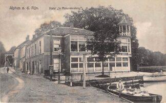 Ansichtkaart Alphen aan den Rijn Hotel 's Molenaars Boot met melkbussen 1924 HC7954