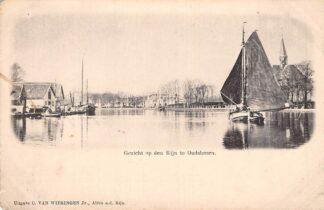 Ansichtkaart Alphen aan den Rijn Gezicht op den Rijn te Oudshoorn Binnenvaart schepen Scheepvaart HC7962