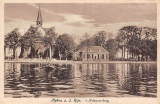 Ansichtkaart Alphen aan den Rijn 's Molenaarsbrug met veerpont en kerk Veer Pont 1930 HC7969