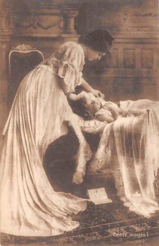 Ansichtkaart Fantasie Goede morgen Moeder wekt kind 1909 HC8090