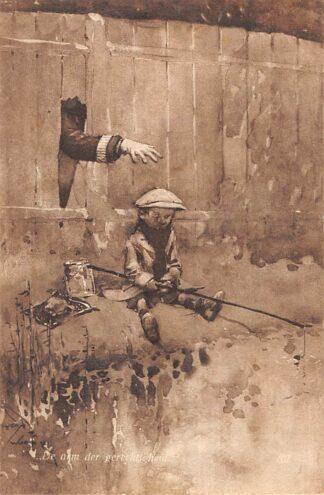 Ansichtkaart Fantasie De arm der gerechtigheid Politie agent betrapt jongen aan het vissen 1910 HC8091