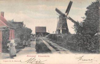 Ansichtkaart Wissenkerke Molenpad met molen en klederdracht 1905 Noord-Beveland Zeeland HC8127