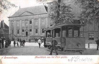 Ansichtkaart 's-Gravenhage 1905 HTM Tram 9 naar Plein, Wittebrug en Kurhaus Mauritshuis van het Plein gezien HC8137