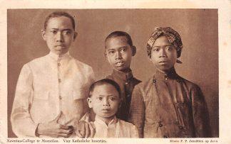 Ansichtkaart Nederlands-Indië Xaverius-College te Moentilan Vier katholieke broertjes Missie P.P. Jezuieten op Java 1924 Indonesië Indonesia   HC8151