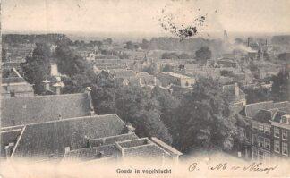 Ansichtkaart Gouda in vogelvlucht 1904 Haven met Tolhuis Stearine Kaarsenfabriek Krimpenerwaard Kleinrondstempel Veenhuizen HC8201