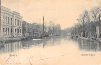 Ansichtkaart Gouda Bleekerssingel en Houtmansgracht 1901 Ambachts school Scheepvaart Vivat HC8202