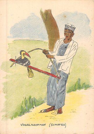 Ansichtkaart Nederlands-Indië Vogelkoopman Sumatra Illustrator Rita Kleijn-Fortuin Indonesië Indonesia Azië HC8288