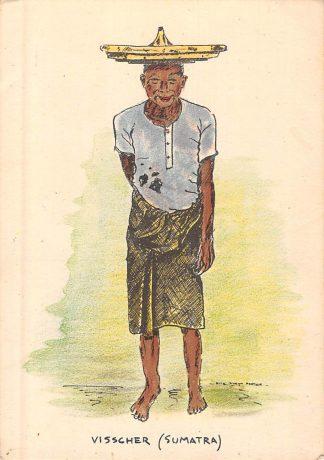 Ansichtkaart Nederlands-Indië Visscher Sumatra Illustrator Rita Kleijn-Fortuin Indonesië Indonesia Azië HC8289