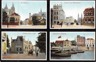 Ansichtkaart Arnhem St. Walburg Stadhuis met Walburgstraat Eusebius Buiten Singel Openstaande Schipbrug HC8304
