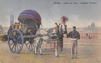 Ansichtkaart Italië Roma Carro da vino Costume Romano Klederdracht 1912 Italia Europa  HC8342