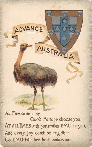 Ansichtkaart Australië Advance Australia Reliëf kaart met struisvogel Australia Dieren HC8345