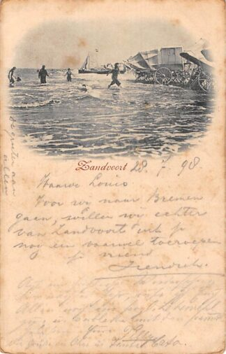 Ansichtkaart Zandvoort 1898 Strand Zee en badkoetsen Kleinrondstempel HC8356