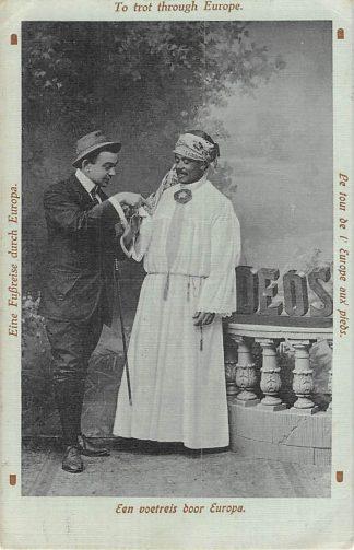 Ansichtkaart Onbekend Een voetreis door Europa met inlander Nederlands-Indië Indonesia 1913 HC8357
