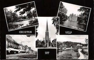 Ansichtkaart Velp Groeten uit Vijver Villapark Kasteel Biljoen Kerk Hoofdstraat en Kasteel Rozendaal Arnhem HC8395