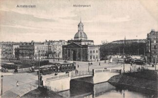 Ansichtkaart Amsterdam Muiderpoort met trams Tram HC8411