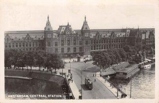 Ansichtkaart Amsterdam Fotokaart Centraal Station Tram Jaren 40 HC8460