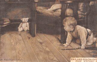 Ansichtkaart Fantasie Een van ons beiden moet sterven Kind met geweer op jacht naar zijn beer 1908 Illustrator Mary Sigsbee Ker HC8465