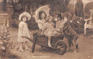 Ansichtkaart Fantasie Mag ik mee rijden Kind en hond Dieren 1909 HC8467