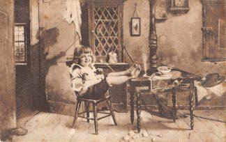 Ansichtkaart Fantasie Kind aan tafel Wee, de gevolgen! 1909 HC8477