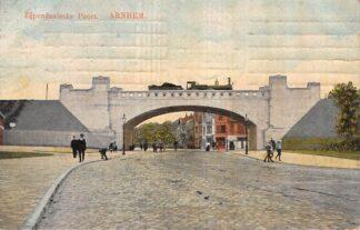 Ansichtkaart Arnhem Zijpendaalsche Poort met Stoomtrein Spoorwegen 1911 HC8519