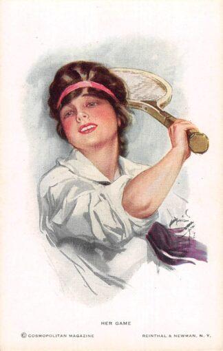 Ansichtkaart Fantasie Her Game Tennis Illustrator Harrison Fisher HC8526