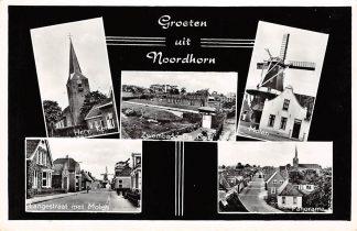 Ansichtkaart Groeten uit Noordhorn 1964 Molen Zwembad Kerk Langestraat Panorama HC8534