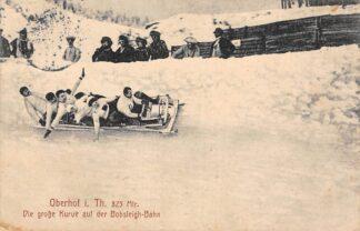 Ansichtkaart Duitsland Oberhof i. Th. Die grosse Kurve auf de Bobsleigh-Banh Bobslee Winter sport 1913 Deutschland Europa HC8541