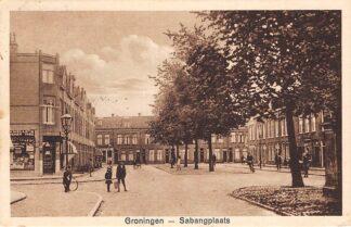 Ansichtkaart Groningen Sabangplaats met winkel kruidenier 1926 HC8548
