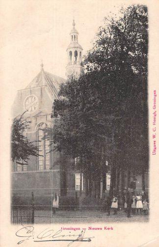 Ansichtkaart Groningen Nieuwe Kerk Kleinrondstempel Groningen - Station 1902 Filatelie HC8591