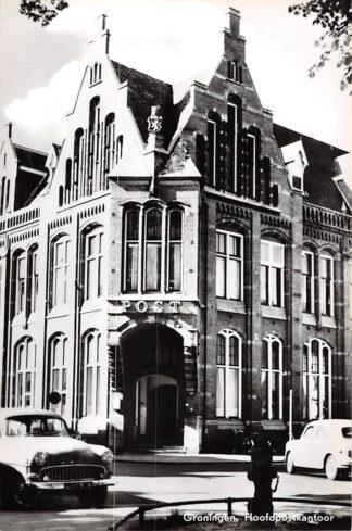 Ansichtkaart Groningen Hoofd postkantoor Post Auto 1965 HC8593