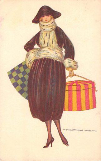 Ansichtkaart Fantasie Dame met hoedentas Illustrator NANNI HC8595