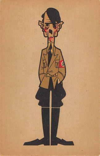 Ansichtkaart Humor Spotprent Adolf Hitler Tweede Wereldoorlog WO2 Duitsland Deutschland Fantasie Europa HC8601