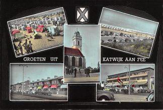 Ansichtkaart Katwijk aan Zee Groeten uit 1957 Strand Zee Boulevard Kerk Auto HC8626