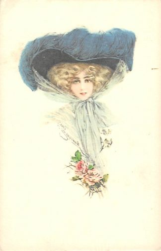 Ansichtkaart Fantasie Dame met hoed HC8637