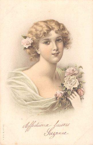 Ansichtkaart Fantasie Affectueux baisers Suzanne 1905 Dame met bloemen HC8638