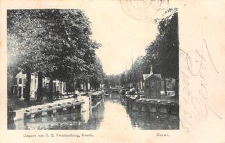 Ansichtkaart Gouda Gouwe Sluis Amsterdams Verlaat met sluiswachtershuisje Uitg. Swartsenburg 1901 HC8670