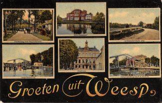 Ansichtkaart Weesp Groeten uit 1909 Muiderweg met begraafplaats Lange Vechtbrug Villa Casparus Stadhuis '-Gravelandscheweg Zwaantjesbrug HC8741