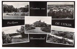 Ansichtkaart Bloemendaal Groeten van Paviljoen De uitkijk Café Restaurant 1952 HC8772