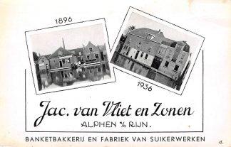 Ansichtkaart Alphen aan den Rijn Banketbakkerij en Fabriek van Suikerwerken Jac. van Vliet en Zonen 1896 - 1936 Reclame HC8821