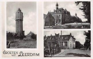 Ansichtkaart Leerdam Groeten uit met Watertoren Postkantoor en Huishoud- en Industrie school HC8840