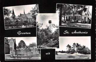 Ansichtkaart Sint Anthonis Groeten uit 1962 R.K. Kerk Hotel Oelbroeck H. Hart Monument Zandverstuiving HC8853
