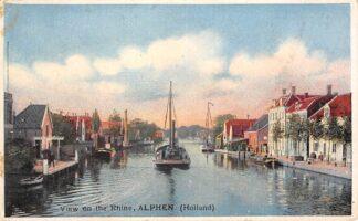 Ansichtkaart Alphen aan den Rijn View on the Rhine Binnenvaart schepen Scheepvaart HC8874